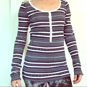 $59 new Lucky Brand thermal shirt S blue white